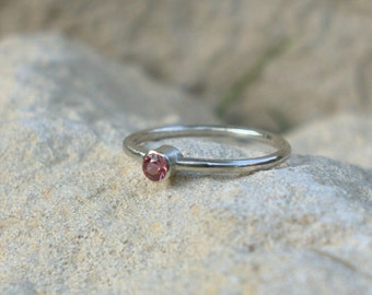 Pink Spinel gemstone ring, skinny band, 'First Kiss' sterling silver, custom Handmade in UK, Fiona Lewis