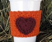 Crochet Heart Coffee Cozy Pumpkin Orange and Plum