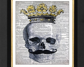 Skull Print with Crown, Skeleton Art, Skull Print, Anatomical Print, Mixed Media art print on 8x10 Vintage Dictionary page, Dictionary print