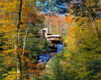 Fallingwater in Autumn - Fine Art Landscape Print - Frank Llloyd Wright, Pennsylvania, Fall Foliage Photography - Colorful Leaves