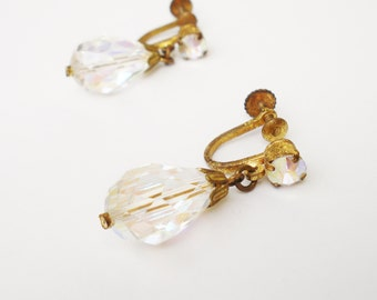 Aurora Borealis Crystal Earrings Vintage, Austrian Crystal Teardrop Dangle Earrings