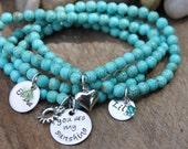 You are my sunshine Hand Stamped Gemstone bracelet set - personalized turquoise gemstone stacking bracelets