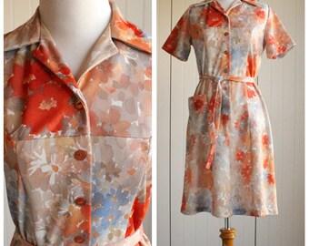 Vintage 70s Orange Floral Scooter Dress// Floral Shift Dress// Autumn Floral Shirtdress