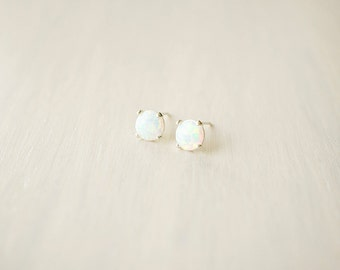 White Opal Studs - sterling silver posts, minimal everyday earrings