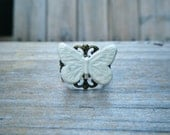 White Butterfly Adjustable Ring