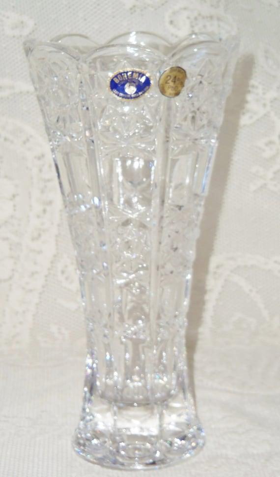 Vintage Bohemia 24 Pbo Cut Lead Crystal Vase Vintage Lead