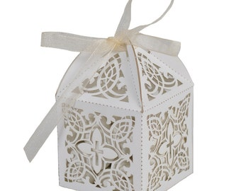 Baptism or Christening First Communion Elegant Decorative Cross White Favor Boxes (Pkg of 60)