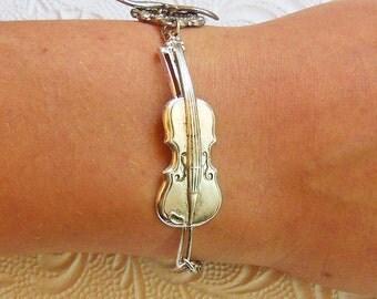 Violin Bracelet, Silver Viola Cuff,  Musician Musical Bangle