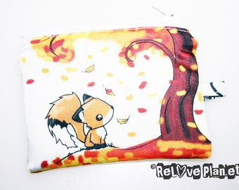 Fall FOX Mini Coin Purse Zipper Pouch - Kawaii cute pretty - Wallet - ReLove Plan.et