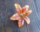 Tiger Lily Hair Clip - Handmade Hair Accessory - Fabric Flower Hair Piece - Tiger Lily Accessory - Flower Accessory