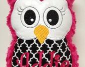Personalized, Soft Fuschia Stuffed Owl Reading Buddy Pillow, Soft Toy