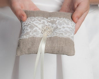 Linen lace ring bearer pillow, Small ring pillow, Rustic wedding Ring cushion, linen pillow for rings