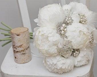 brooch bouquet, bridal bouquet, wedding bouquet, bridesmaid bouquet, paper flower bouquet, peonies bouquet, white paper bouquet