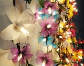 LED Battery or Plug 8 Colour Option of 20 Frangipani Flower Fairy String Lights anging Party Patio Wedding Garland Gift Home Holiday Decor