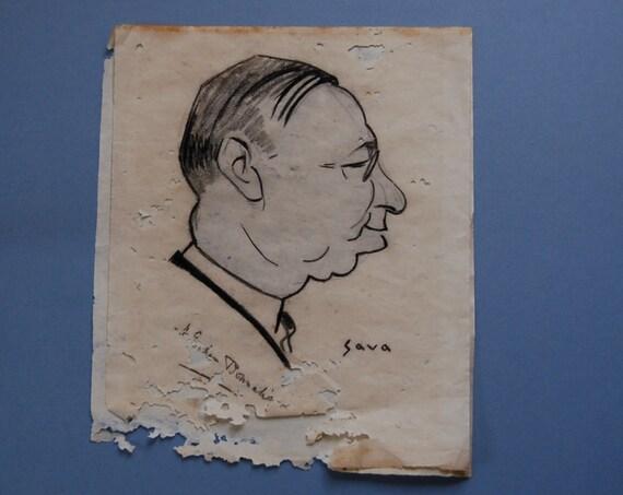 Original art 1920s caricature of a gentleman signed SAVA , male portrait , art deco portrait of a man