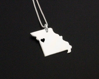 Missouri necklace Personalized Engraveable sterling silver Missouri state necklace with heart comes with Box style chain - hometown jewelry