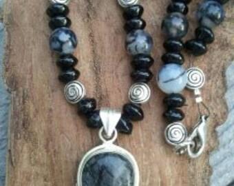 Necklace Rutilated Quartz and Onyx
