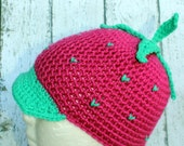Crochet Strawberry Hat Beanie with Brim Bright Pink/green - Racer Girl Character Costume - Halloween Costume Hat - Strawberry Beanie
