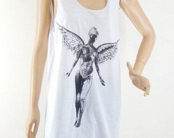 Angels X-Ray Tshirt Angel Shirt Angel Tank Top White Tshirt Women Tshirt Men Tshirt Tunic Screen Print Size M