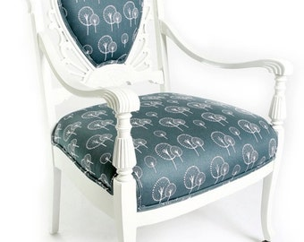 Upholstered Wooden Arm Chair Painted White