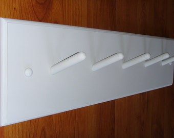 """24"""" Modern coat rack in white with square corners. (light gray pictured)"""