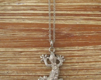 Silver Lizard Necklace - Rhinestone Lizard Necklace - Silver Rhinestone Necklace