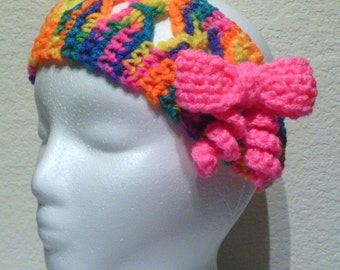 Bow Crochet Headband, Orange, Yellow, Hot Pink, Blue, Purple, Tie-on, Adult, Teen, Child