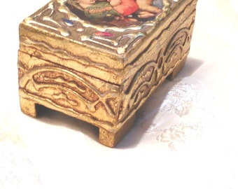"Antique Gilded Jewelry Box c.1512 Raphael's ""Madonna della Seggiola"" Portrait of Mary, Jesus, Baby St John Estate Treasure NorthCoastCottage"