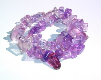 Twilight Lavender and Sky Magenta Colored Rock Shaped Glass Beaded Variegated 2 Bracelets