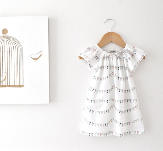 Baby Girls Peasant Dress-Small French Bunting FlagsSpecial