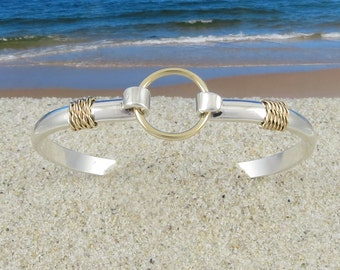 Sailors Nautical Port Hole 14k Gold and Sterling Silver Bracelet