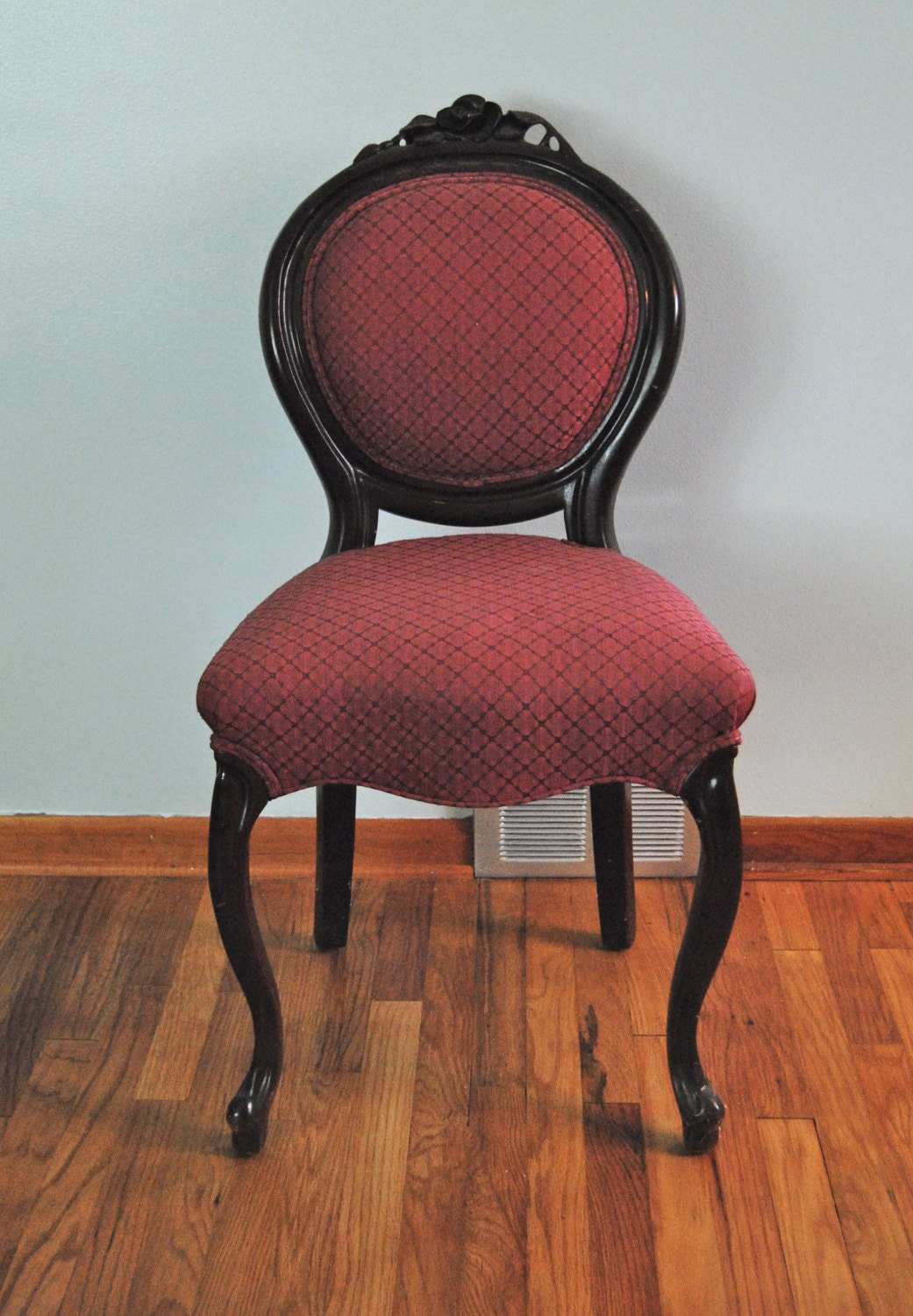 Vintage Upholstered Red Armless Vanity Chair With Engraved