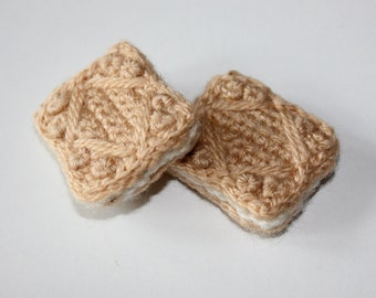 Handmade Crochet Brooch Custard Cream Style Biscuit. Wearable Fiber Art. One item only. FREE SHIPPING!!