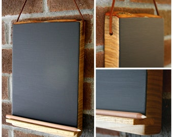 Hanging Chalkboard Tablet with Chalk Pencil Shelf Holder-  Wood Chalkpaint with Leather strap or Jute hanger - Unique Kitchen Gift