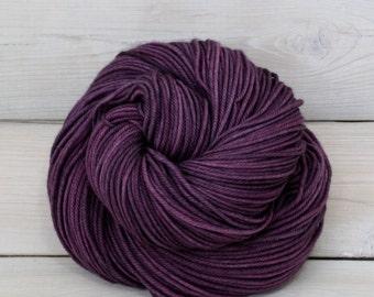 Calypso - Hand Dyed Superwash Merino Wool DK Light Worsted Yarn - Colorway: Eggplant
