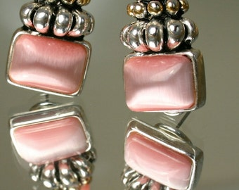 Vintage Pink Earrings, Solid, Clip On And Pierced