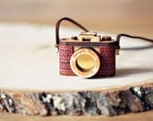 Wood and Leather Camera Necklace- Aztec Red, mustard yellow