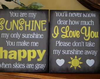 Set Of 2 You Are My Sunshine Primitive Wooden Signs