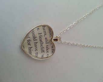 Heathcliff Wuthering Heights Heart Book Page Necklace