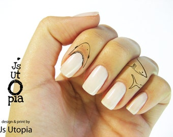 Shark Water Transfer Finger Tattoo