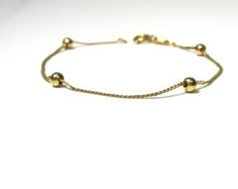 14k Yellow Gold Bracelet with Ball Beads Weight 1.5 Grams