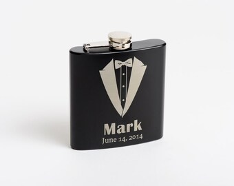Flasks, Personalized Groomsmen Flasks, Engraved Groomsmen Gift, Best Man Gifts, Tuxedo Flasks