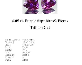 Synthetic Sapphire - Drop Dead Gorgeous 6.05 Carat Synthetic Purple Sapphire Pair in a Stunning Trillion Cut...