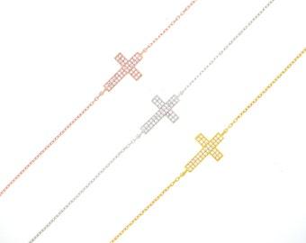 Small Sideway Cross Bracelet