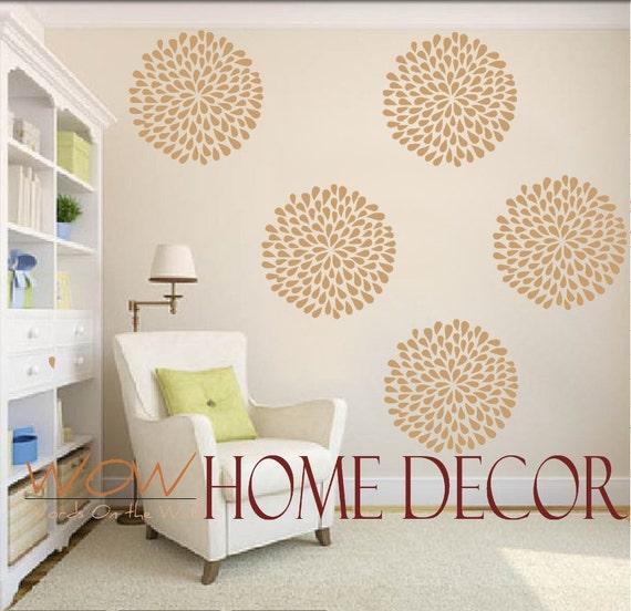"Vinyl Wall Decal Art - Rain Drop Flower Pattern 12"" diameter"