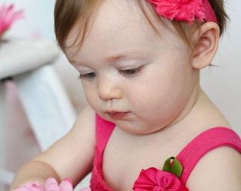 Pink and Aqua Baby Headband, Infant Headband, Newborn Headband, Headband - Shabby Chic Headband Pink and Aqua, Easter Headband