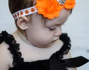 Pumpkin Baby Headband, Infant Headband, Newborn Headband, Shabby Chic Headband Bright Orange Rosettes on  Pumpkin elastic