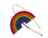 Sparkly Rainbow Headband - Multicoloured ROYGBIV Hair Band - Red Orange Yellow Green Blue Purple Kitsch Rhinestone Fascinator