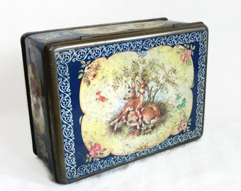Woodland animals, Vintage tin box. Mother deer & fawn, squirrels, bird family. Wildlife, Kawaii cute. Forest, home decor, metal container