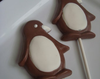 8 Chocolate Penguin Caramel Lollipops Birthday Party Favors Animal Penguins